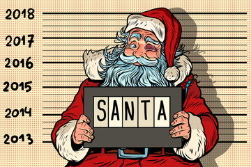 2018 new year, photo funny Santa Claus under arrest