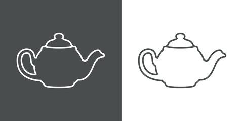Icono plano linea tetera gris y blanco