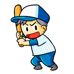 Funny and cute baseball player ready to hit the ball - vector.