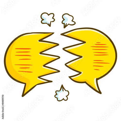 Cute And Funny Breaking Balloon Text Disagreement Symbol Vector