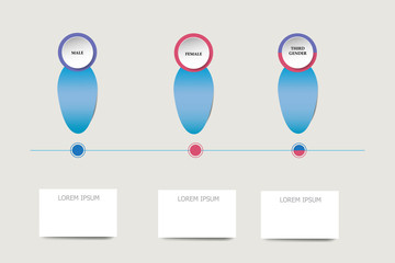 Blue infographs showing male, female and third gender as a organization chart ready for your text
