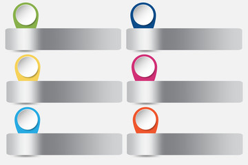 Six silver metallic rectangles with slided white circles with colorful edges ready for your text