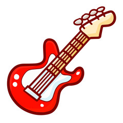 Cute and cool iconic red electric guitar - vector.