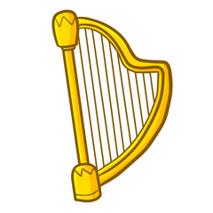 Cute and funny golden harp for orchestra - vector.