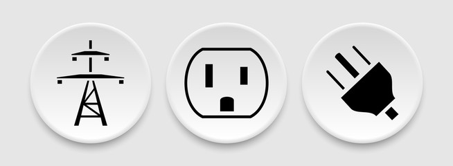 Power lines socket outlet plug icons