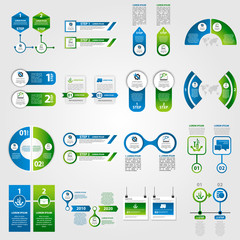 Modern vector illustration 3d. Template infographics set with two elements, sectors and percentages. Contains icons and text. Designed for business, presentations, web design, diagrams with 2 steps