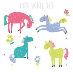 Set with 4 cute cartoon horses