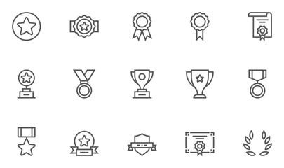 Set of Winning Vector Line Icons. Editable Stroke. 48x48 Pixel Perfect.