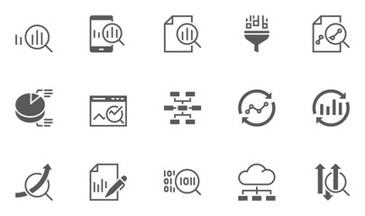 Set of Data Analysis Vector Icons.