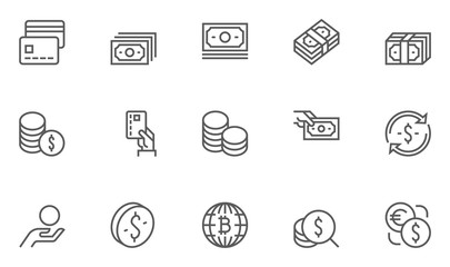 Set of Money Related Vector Line Icons. 48x48 Pixel Perfect.