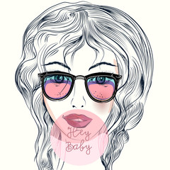 Fashion illustration with cute cool girl in hipster glasses