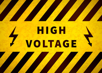 High voltage warning plate, old danger sign with yellow and black stripes