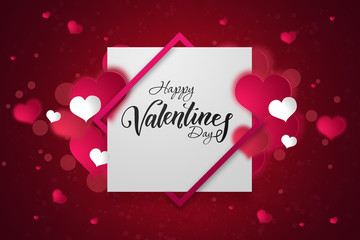Happy Valentine's Day festive web banner. A view of the composition with pink hearts against a white square. Wallpaper, flyers, invitations, posters, brochures.