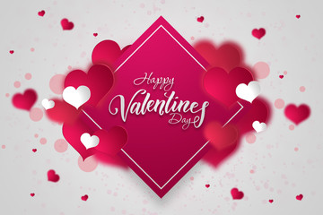 Happy Valentine's Day festive web banner. Kind on a composition with pink hearts and confetti in the form of hearts on a white background. Wallpaper, flyers, invitations, posters, brochures.