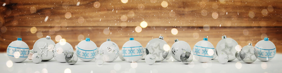 White and blue christmas baubles lined up 3D rendering