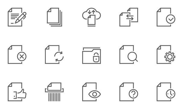 Set of Document Flow Management Vector Line Icons. 48x48 Pixel Perfect.