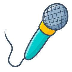 Funny and cute mic in cartoon - vector.