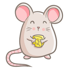 Funny and cute mouse standing and holding a cheese - vector.