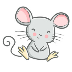 Funny and cute mouse sitting and smiling happily - vector.