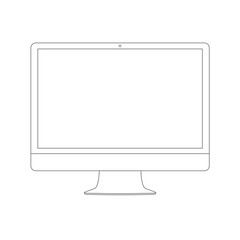 Outline drawing PC monitor. Elegant thin line style design. Vector illustration.