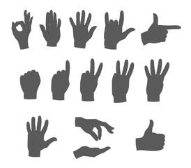 hands in different gestures silhouettes vector illustration set