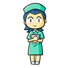 Funny and cute nurse smiling to patients - vector.