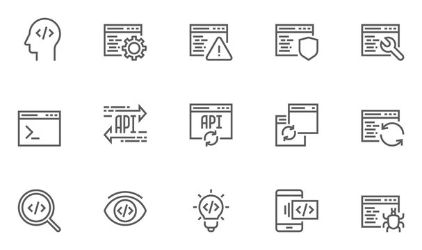 Set of Software Development, Programming and Coding Line Icons. Contains such Icons Mobile Application, API and more. Editable Stroke. 48x48 Pixel Perfect.