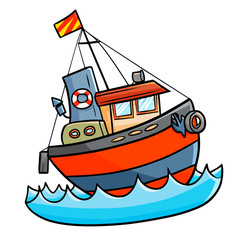 Cute and cool funny ship sailing on the ocean - vector.