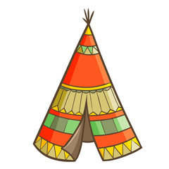 Cute and cool vintage Indian tent - vector.