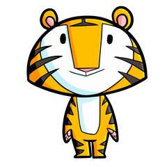 Cute and funny tiger standing and smiling - vector.