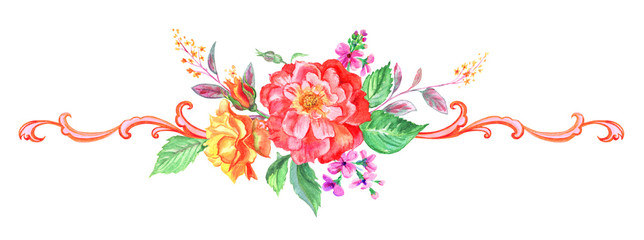 Watercolor vignette with roses, gillyflowers and twigs and summer flowers with a baroque pattern, hand drawing.