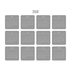 Vector calendar - Year 2018. Week starts from Sunday. Simple flat vector illustration in grey and white.