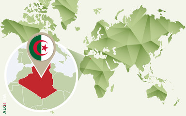 Infographic for Algeria, detailed map of Algeria with flag.
