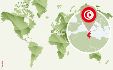 Infographic for Tunisia, detailed map of Tunisia with flag.