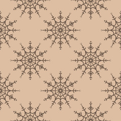 Snowflakes seamless pattern. Brown and beige background with christmas elements