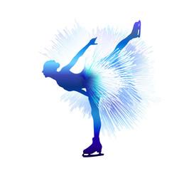 Winter sport. Ladies figure skating. Vector illustration