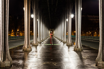 Early in the morning under the Bir-Hakim bridge in pairs, France