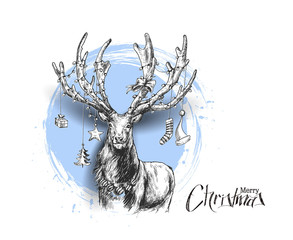 Happy Christmas - Cartoon Style Hand Sketchy drawing of reindeer