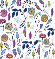 vector vivid drawing of decorative flowers on white background