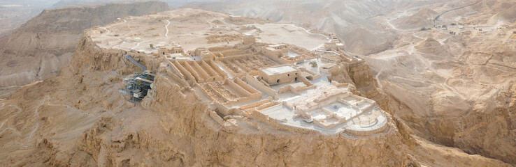 Masada - Aerial footage of the ancient fortification in the Southern District of Israel