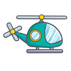 Cool and cute green helicopter toy - vector.