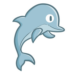Funny and cute dolphin jumping - vector.