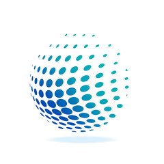 Logo of world, abstract ball with a sphere dots