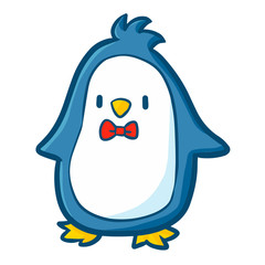 Funny and cute blue penguin with red butterfly tie - vector.