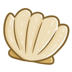 Cute and cool closed seashell - vector.