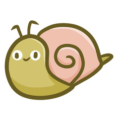 Funny and cute small snail smiling - vector.