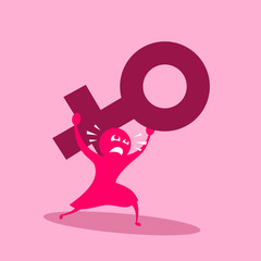 Problems, trouble, failures and difficulties based on female gender and sex. Woman is  disadvantaged, discriminated and under pressure because of her sex. Vector illustration