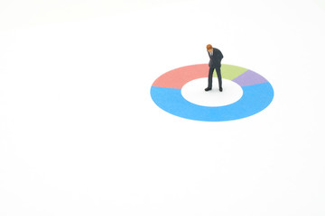 Miniature people businessmen analyze standing on Circle graph with performance as background strategy concept and Business concept with copy space.