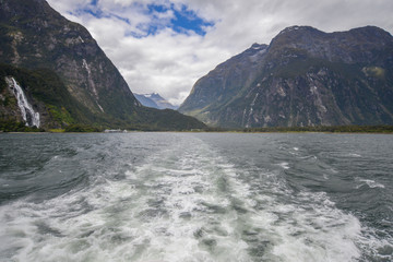 Stern of boat in Milford Sound New Zealand