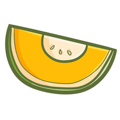 Cute and yummy orange melon ready to eat - vector.